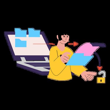 Employer uploading business data to secure storage Illustration