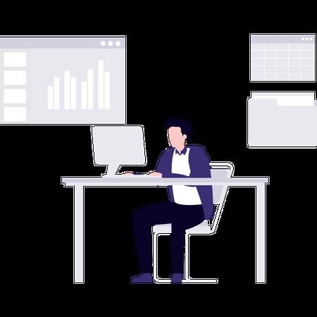 Employer working on data analysis Illustration