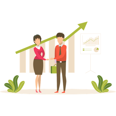 Employers discussing about online business growth Illustration
