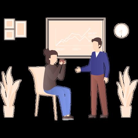 Employers discussing market data Illustration