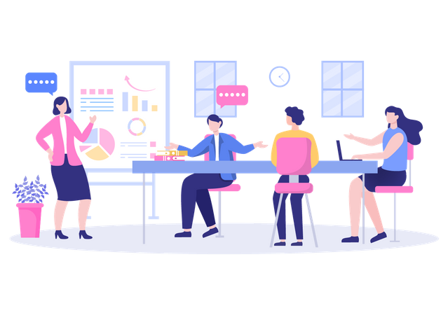 Employers doing discussion while business training Illustration