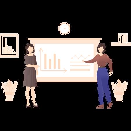 Employers preparing presentation Illustration