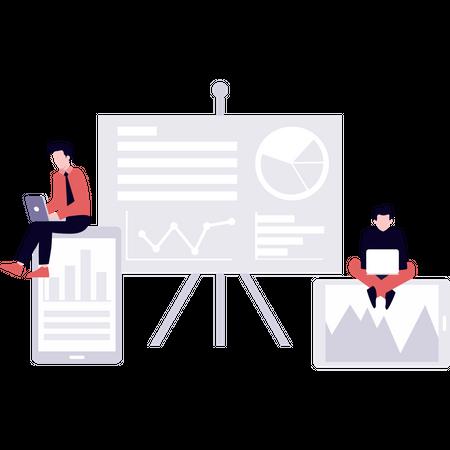 Employers working on business presentation Illustration