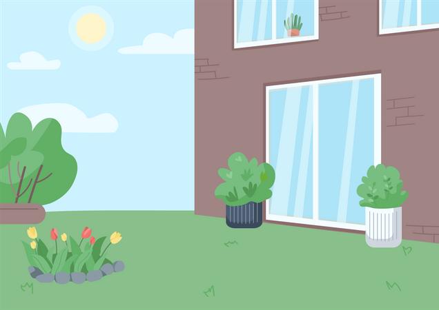 Empty backyard Illustration