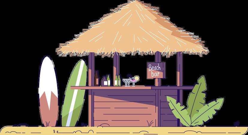 Empty beach bar and surfboards Illustration