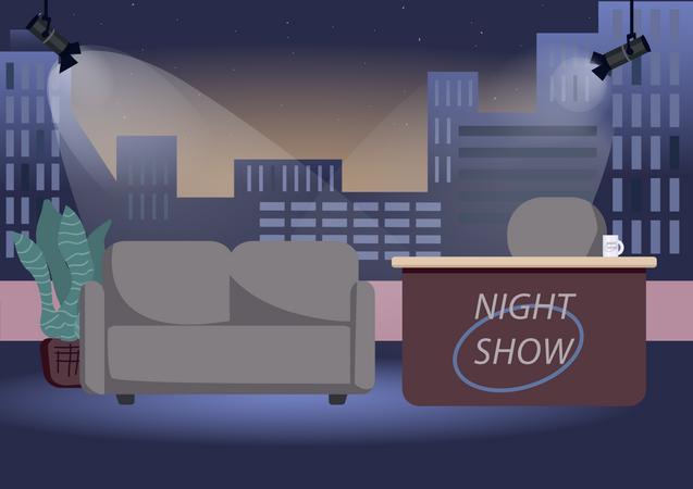 Empty chat show studio Illustration