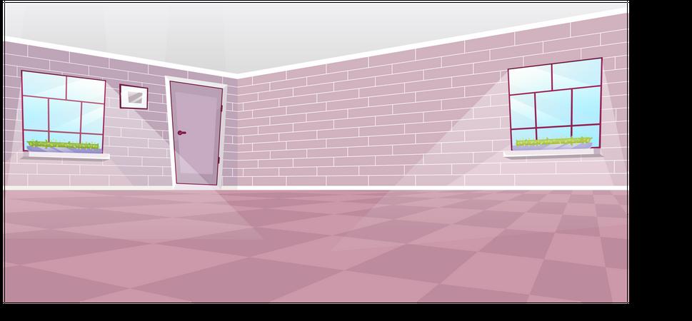 Empty dining room interior Illustration