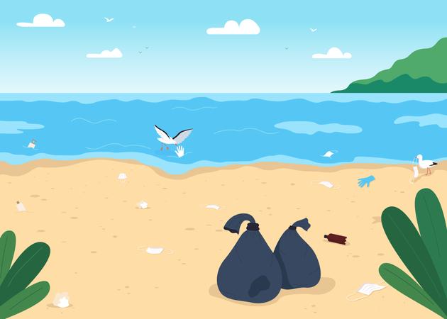Empty dirty beach Illustration