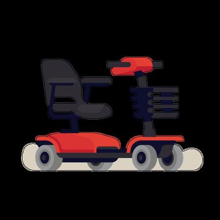 Empty four wheel electric wheelchair Illustration