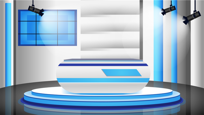Empty news studio Illustration