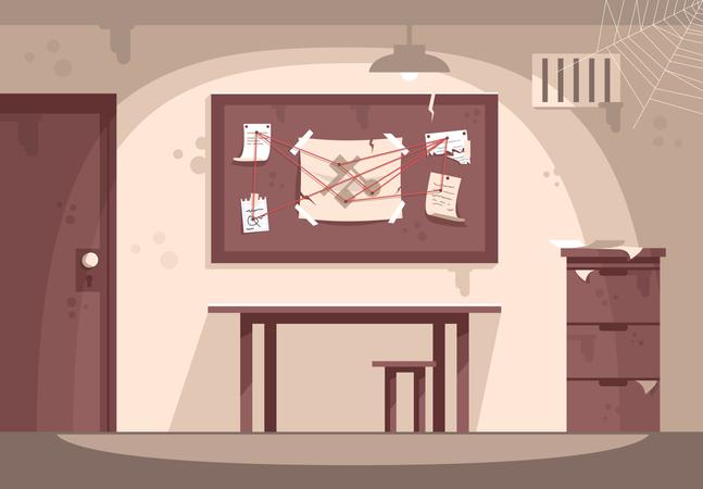 Empty police cabinet Illustration