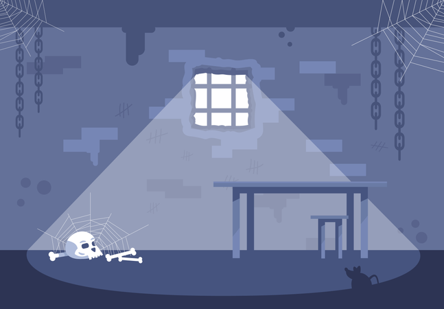 Empty prison cell Illustration