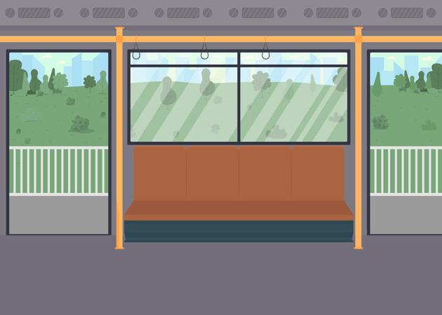 Empty public train Illustration