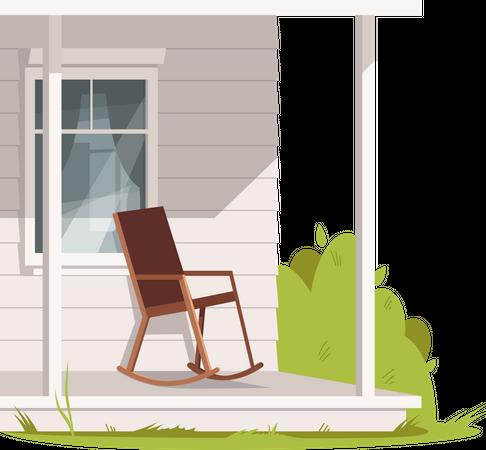 Empty Rocking Chair At Farmhouse Illustration