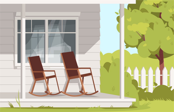 Empty Rocking Chairs At Farmhouse Illustration