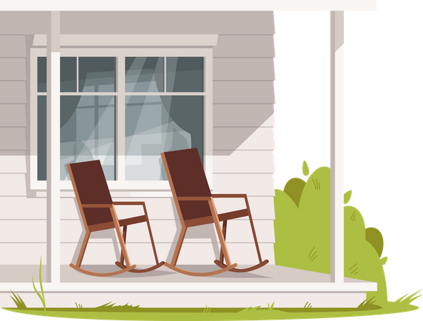 Empty Rocking Chairs At outside of house Illustration
