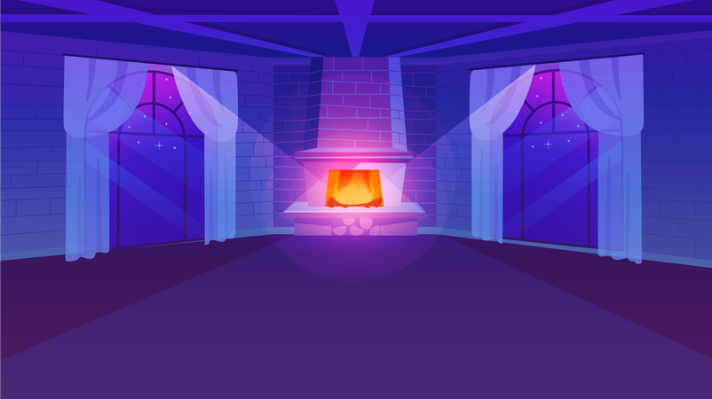 Empty room with fireplace Illustration