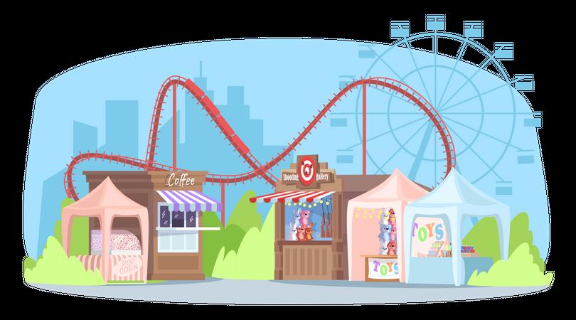 Empty street fair Illustration