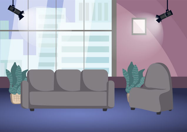 Empty talk show shooting stage Illustration