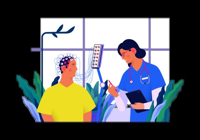 Encephalography procedure Illustration