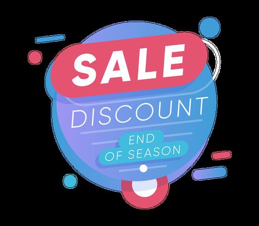 End of season discount sale tag Illustration