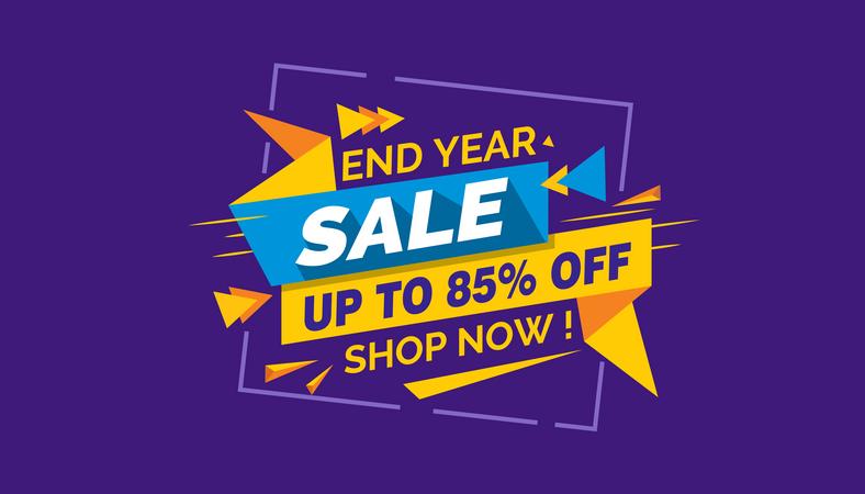 End Year Sale, Colorful Sale Banner Label, Discount Sale, Promo Sale Card Illustration