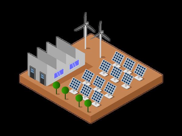 Energy production using solar panel Illustration