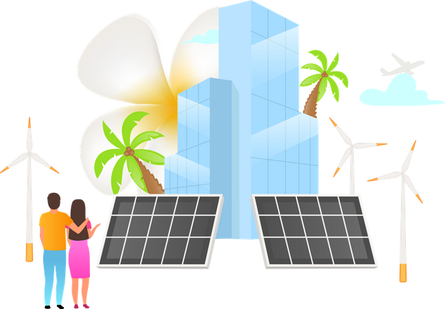 Energy saving by solar system Illustration