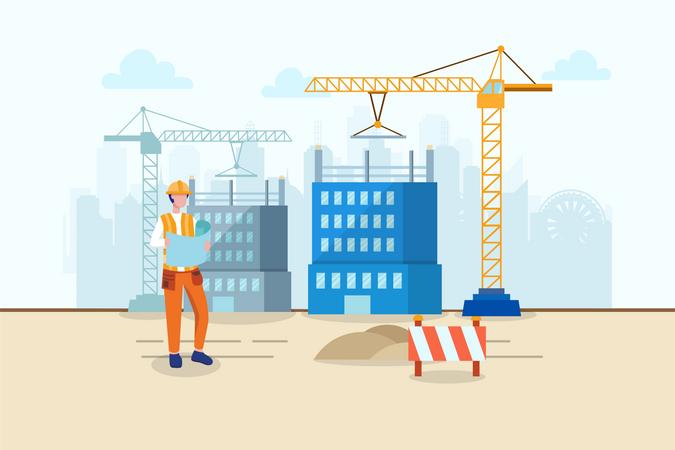 Engineer analysis blueprint of construction site Illustration