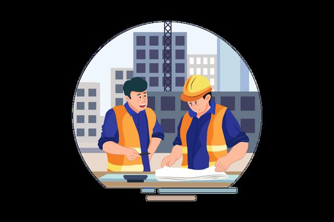 Engineer analysis blueprint of the construction site Illustration