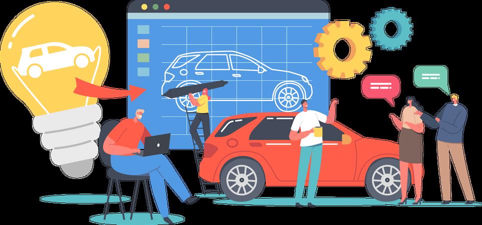 Engineer Designer Perform Automobile Prototype Project Illustration