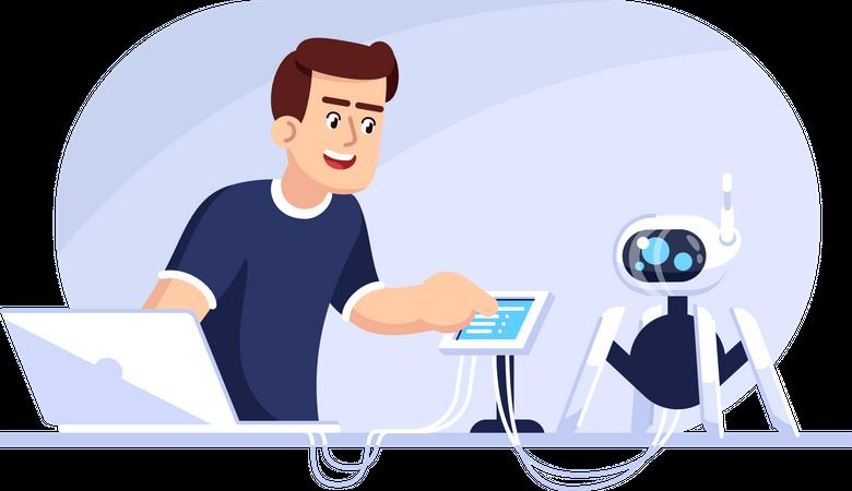 Engineer operating robot Illustration