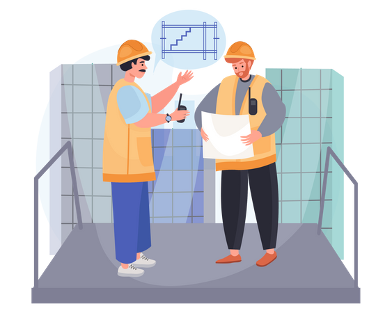 Engineer talking about new plan Illustration