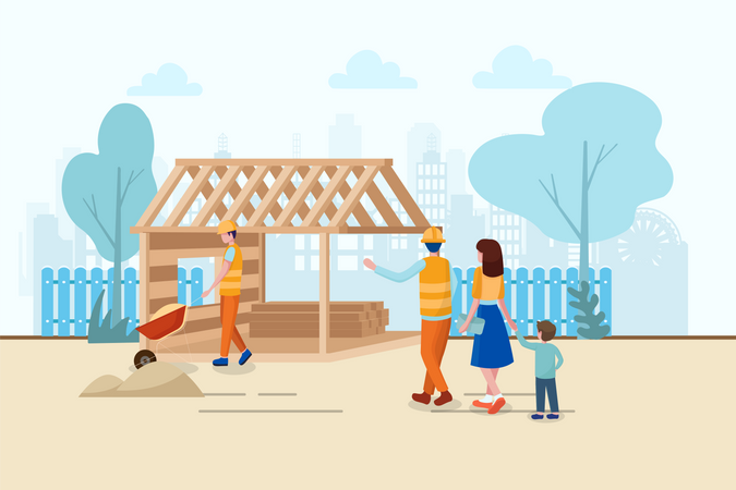Engineer took his family or friend for showing the work progress of the construction site Illustration