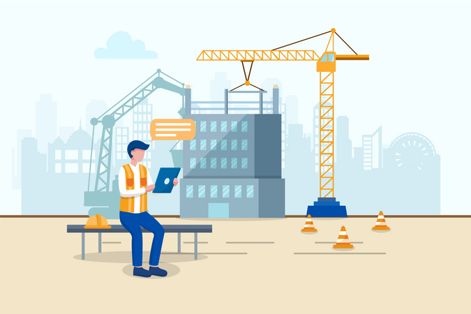 Engineer watching tablet for better planning for future work in construction site Illustration
