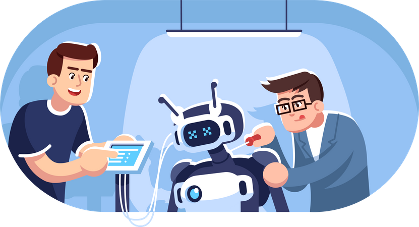 Engineers creating robot Illustration
