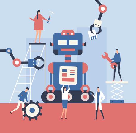 Engineers Making robot Illustration