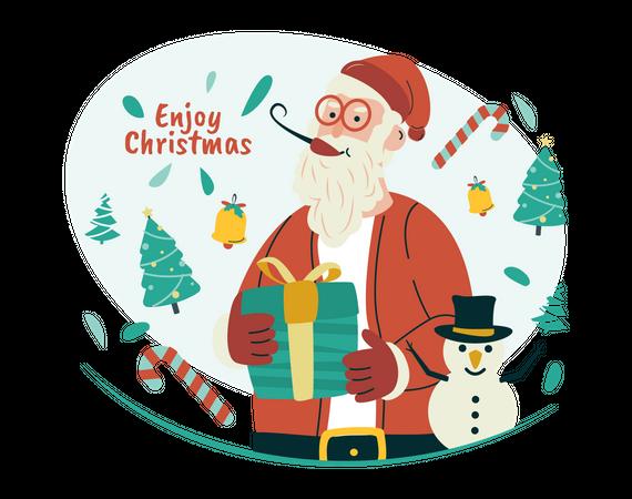 Enjoy Christmas with Santa Claus Illustration