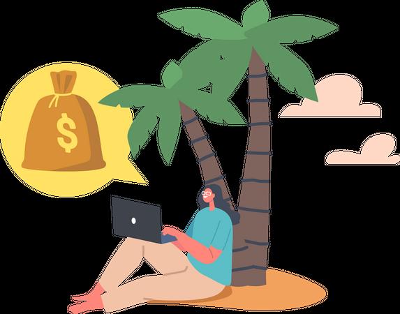Enjoying Freedom and Passive Income Illustration