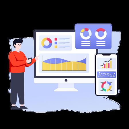 Enterprise statistic management Illustration