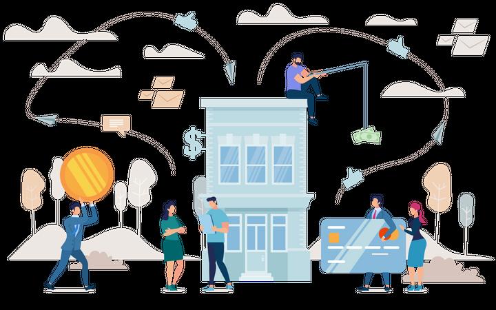 Entrepreneur with Tablet Standing near Bank Building Illustration