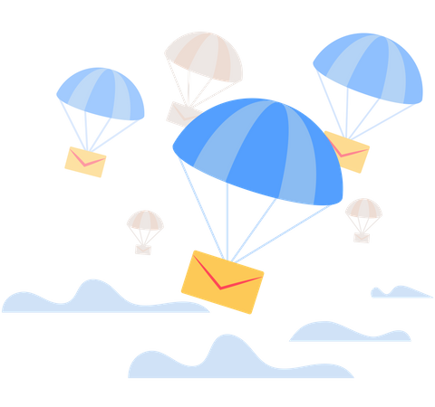 Envelope Falling Down with Parachute from the sky Illustration