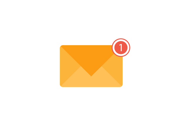 Envelope with one notification Illustration