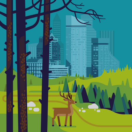 Environment and ecology themed design with a deer stag standing in the middle of nature reserve park valley with large city in the background Illustration