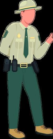 Environmental police male officer Illustration