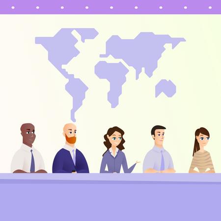 Environmentalists panel sitting Illustration