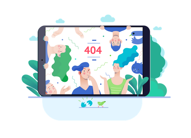 Error 404 web page on tablet Illustration