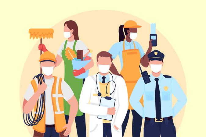 Essentials workers Illustration