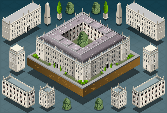 European Building Architecture Illustration