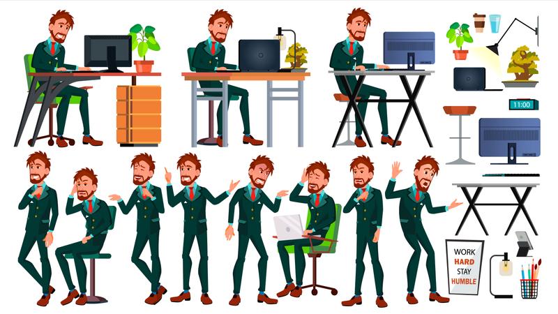 European Worker Working Gestures Illustration
